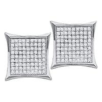 Sterling Silver Womens Round Diamond Square Kite Cluster Stud Earrings 7/8 Cttw