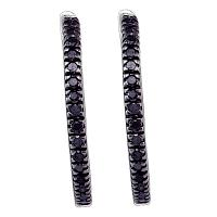 Sterling Silver Black Color Enhanced Diamond Womens Pave-set Polished Hoop Earrings 1/2 Cttw