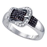Sterling Silver Black Color Enhanced Diamond Belt Buckle Womens Band Ring 1/3 Cttw