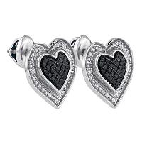 Sterling Silver Womens Round Black Color Enhanced Diamond Outline Heart Screwback Earrings 1/3 Cttw