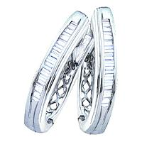 Sterling Silver Womens Baguette Diamond Hoop Earrings 1/2 Cttw