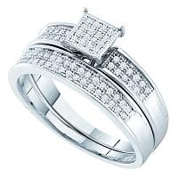 Sterling Silver Womens Round Diamond Bridal Wedding Engagement Ring Band Set 1/5 Cttw