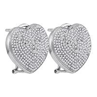 Sterling Silver Womens Round Diamond Heart Love Omega-back Earrings 1.00 Cttw