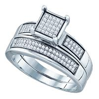 Sterling Silver Womens Round Diamond Square Bridal Wedding Engagement Ring Band Set 1/3 Cttw