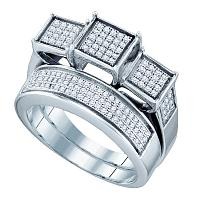 Sterling Silver Womens Round Diamond Triple Cluster Bridal Wedding Ring Band Set 1/2 Cttw