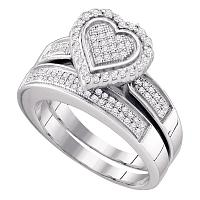 Sterling Silver Womens Round Diamond Heart Bridal Wedding Engagement Ring Band Set 3/8 Cttw