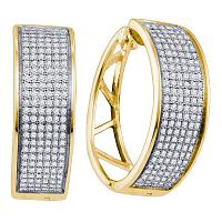 Yellow-tone Sterling Silver Womens Round Diamond Hoop Earrings 7/8 Cttw