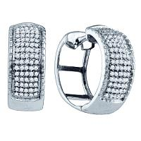 Sterling Silver Womens Round Micro-pave Diamond Hoop Earrings 3/8 Cttw