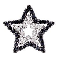 10kt White Gold Womens Round Black Color Enhanced Diamond Star Frame Cutout Pendant 1/3 Cttw