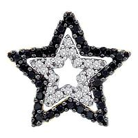 10kt Yellow Gold Womens Round Black Color Enhanced Diamond Star Frame Cutout Pendant 1/3 Cttw