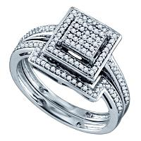 Sterling Silver Womens Diamond Square Cluster Bridal Wedding Engagement Ring Band Set 1/3 Cttw