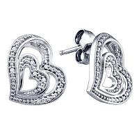 Sterling Silver Womens Round Diamond Heart Stud Earrings 1/20 Cttw
