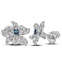 Sterling Silver Womens Round Blue Color Enhanced Diamond Pinwheel Stud Earrings 1/5 Cttw