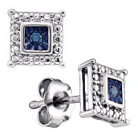 Sterling Silver Womens Round Blue Color Enhanced Diamond Solitaire Earrings 1/20 Cttw