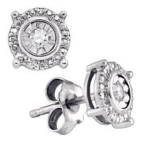 Sterling Silver Womens Round Diamond Solitaire Circle Frame Stud Earrings 1/10 Cttw