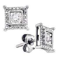 Sterling Silver Womens Round Diamond Solitaire Square Stud Earrings 1/10 Cttw