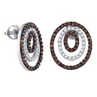 Sterling Silver Womens Round Brown Color Enhanced Diamond Circle Stud Earrings 1.00 Cttw