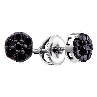 Sterling Silver Womens Round Black Color Enhanced Diamond Flower Cluster Earrings 1/6 Cttw
