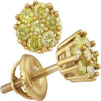 Yellow-tone Sterling Silver Womens Round Yellow Color Enhanced Diamond Flower Cluster Earrings 1/2 Cttw