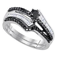 Sterling Silver Womens Round Black Color Enhanced Diamond Bridal Wedding Engagement Ring Band Set 5/8 Cttw