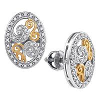Sterling Silver Womens Round Diamond Oval Two-tone Curl Stud Earrings 1/6 Cttw