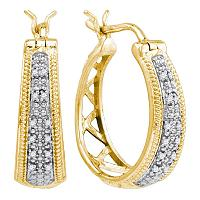 Yellow-tone Sterling Silver Womens Round Diamond Hoop Earrings 1/10 Cttw