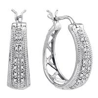 Sterling Silver Womens Round Diamond Hoop Earrings 1/10 Cttw