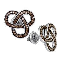 Sterling Silver Womens Round Brown Color Enhanced Diamond Trinity Loop Stud Earrings 1/2 Cttw