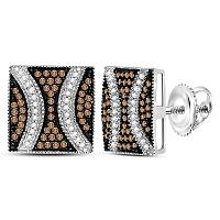 Sterling Silver Womens Round Brown Color Enhanced Diamond Square Cluster Earrings 1/2 Cttw