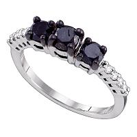 10k White Gold Womens Black 3-stone Color Enhanced Diamond Bridal Wedding Engagement Anniversary Ring 1.00 Cttw