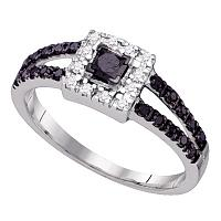 10kt White Gold Womens Princess Black Color Enhanced Diamond Princess Bridal Wedding Engagement Ring 1/2 Cttw