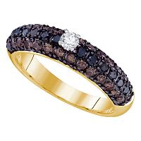 10kt Yellow Gold Womens Round Black Color Enhanced Diamond Solitaire Bridal Wedding Engagement Ring 1-1/6 Cttw