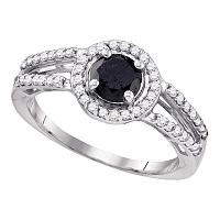 10kt White Gold Womens Round Black Color Enhanced Diamond Solitaire Bridal Wedding Engagement Ring 1-1/20 Cttw