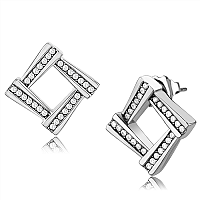Stainless Steel Silver-Tone Open Square Stud Earring