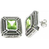 925 Sterling Silver Rhodium Finish Simulated Peridot Emerald Cut Antique Style Earrings