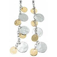 925 Sterling Silver Rhodium Finish Disk Drop Earrings