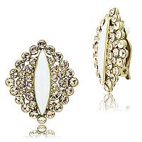 Gold Plated brass Earring with a Champagne Rhinestone