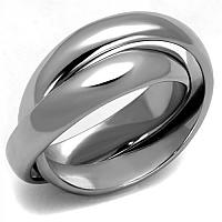 Women's Stainless Steel Double Interlocking Ring Band